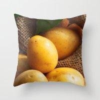 potato Throw Pillows featuring potato sack by Tanja Riedel