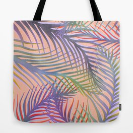 Palm Leaves Pattern - Purple, Peach, Blue Tote Bag