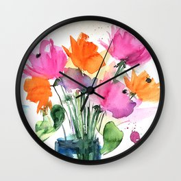 Big Colorful Bouquet - Watercolor Flowers Wall Clock