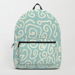 Off white and mint green abstract swirls pattern Backpack