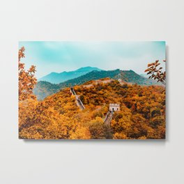 The Great Wall of China in Autumn (Color) Metal Print