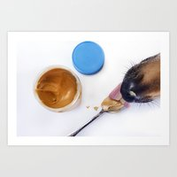 Dog with Peanut Butter Art Print