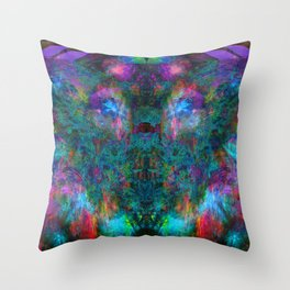 Butterfly Block Face (Cyan) (abstract, psychedelic, visionary) Throw Pillow