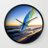 angel Wall Clocks featuring Angel  by Saundra Myles