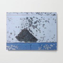 Blue and White Crumbling Metal Print
