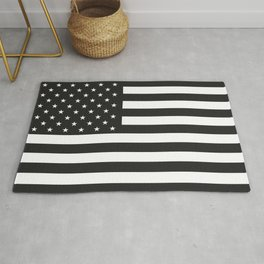American Flag Stars and Stripes Black White Rug