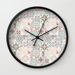 Moroccan Tile Pattern with Rose Gold Wall Clock