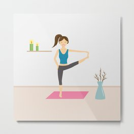 Yoga Girl In Extended Hand To Toe Pose Cartoon Illustration Metal Print
