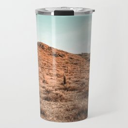 Saguaro Mountain // Vintage Desert Landscape Cactus Photography Teal Blue Sky Southwestern Style Travel Mug