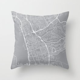 Chula Vista Map, California USA - Pewter Throw Pillow