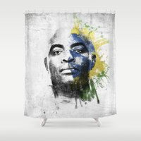 wes anderson Shower Curtains featuring Anderson Silva's Spider Flows - White & Color Series #2 by Universo do Sofa - Artes & Etecetera