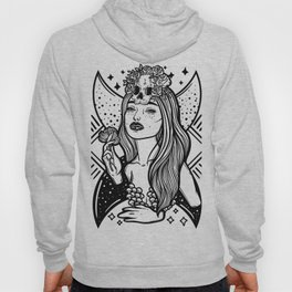Lady Death. Pretty woman with flower and skull Hoody