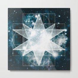 Sacred Geometry : Teal Galaxy Metal Print