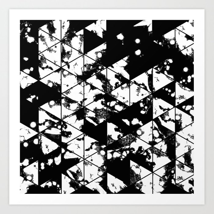 Splatter triangles black and white abstract paint splat triangular pattern art print