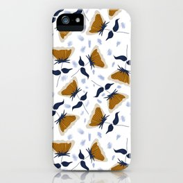 Gold and White Flowers with Blue iPhone Case