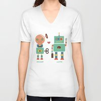 lawyer V-neck T-shirts featuring Robotic Love by akaink