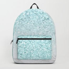 Turquoise Glitter and Marble Backpack