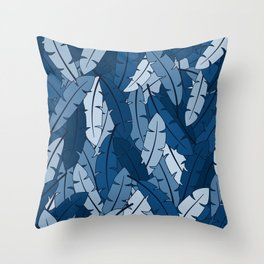 Classic Blue feathers pattern Throw Pillow