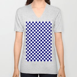White and Navy Blue Checkerboard Unisex V-Neck