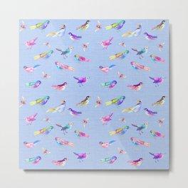 Songbirds on Bluebell linen Metal Print