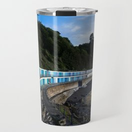 Meadfoot Imposing Cliffs And Beach Huts Travel Mug