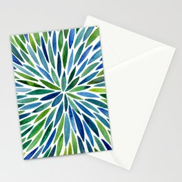 Watercolor Burst – Blue & Green Stationery Cards