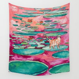 Ginger Cat amongst the Lily Pads on a Pink Lake Wall Tapestry