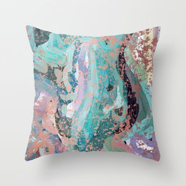Abstract Digital Painting with Rose Gold Patina Design with by Hxlxynxchxle Throw Pillow