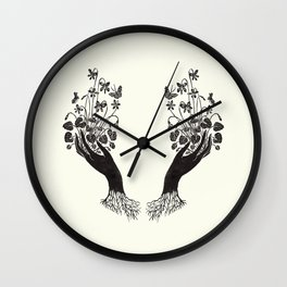 Violet Offering - cream Wall Clock