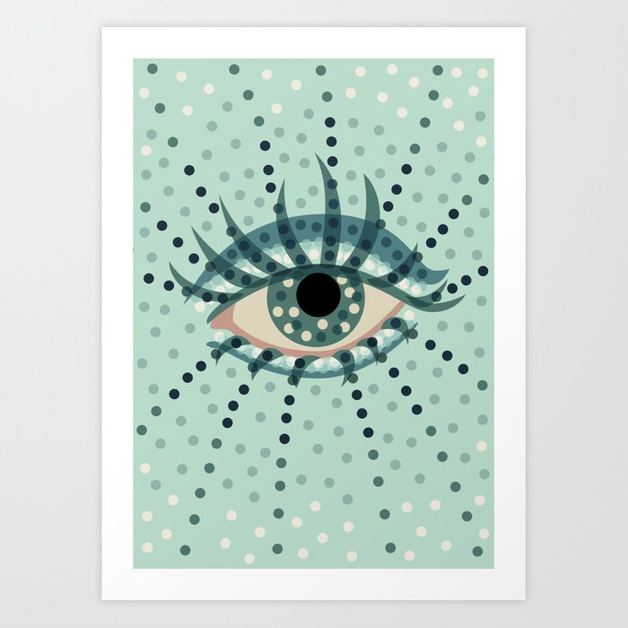 Abstract Eye With Dots Art Print