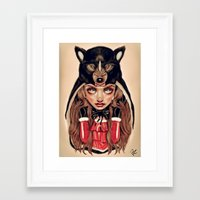 red riding hood Framed Art Prints featuring Red Riding Hood by Giulio Rossi