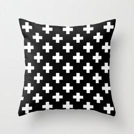 Black & White Plus Sign Pattern Throw Pillow
