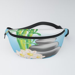 Meditation stones with bamboo and flowers Fanny Pack