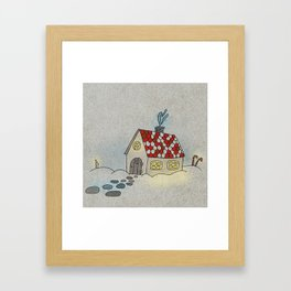 Winter Evening in Tiny Gingerbread House Framed Art Print