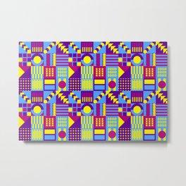 Futuristic Geometric Multicolor Decorative Decor Cubes Pattern Metal Print