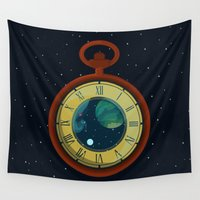 watch Wall Tapestries featuring Cosmic Pocket Watch by badOdds