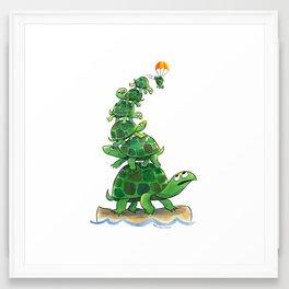 Teetering Turtle Tower Framed Art Print