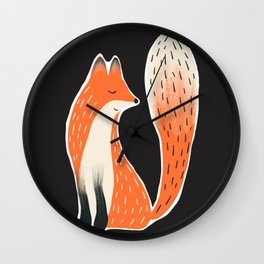 Folk Fox Wall Clock
