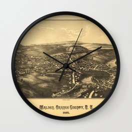Aerial View of Walden, Orange County, New York (1887) Wall Clock