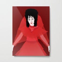Lydia in Red on Maroon Metal Print
