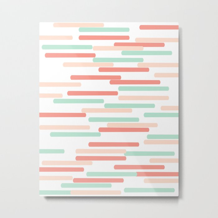 Mint Coral stripes minimal abstract basic home office dorm college trendy decor gifts Metal Print