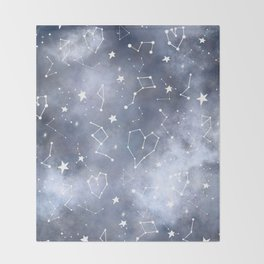 Modern black grey white nebula watercolor hearts constellation stars universe pattern Throw Blanket