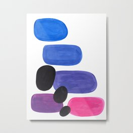 Candy Pink Blue Periwinkle Purple Pebbles Minimalist Mid Century Bright Pop Art Metal Print