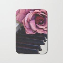 Piano Keys With Rose Bath Mat