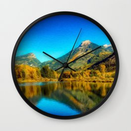 Sienna Lake | Autumn colors at the mountain - Oil Canvas Painting Wall Clock