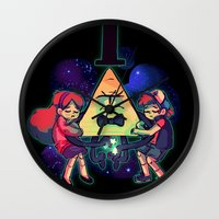 gravity falls Wall Clocks featuring Gravity Falls by Miki Draw