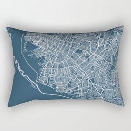 Asuncion Blueprint Street Map, Asuncion Colour Map Prints Rectangular Pillow