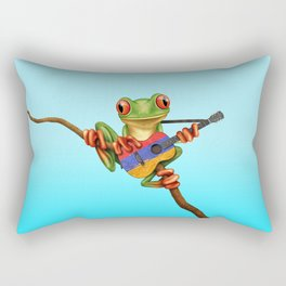 Tree Frog Playing Acoustic Guitar with Flag of Armenia Rectangular Pillow
