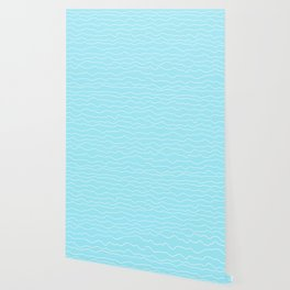 Turquoise with White Squiggly Lines Wallpaper