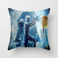 peter pan Throw Pillows featuring Peter Pan by ANoelleJay